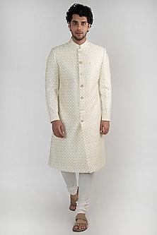 Champagne Gold Textured Sherwani Set by Ankit V Kapoor