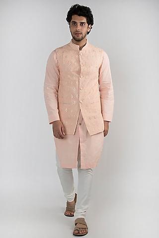 Peach Embroidered Kurta Set With Jacket by Ankit V Kapoor