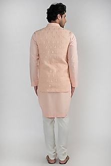 Peach Embroidered Kurta Set With Jacket by Ankit V Kapoor