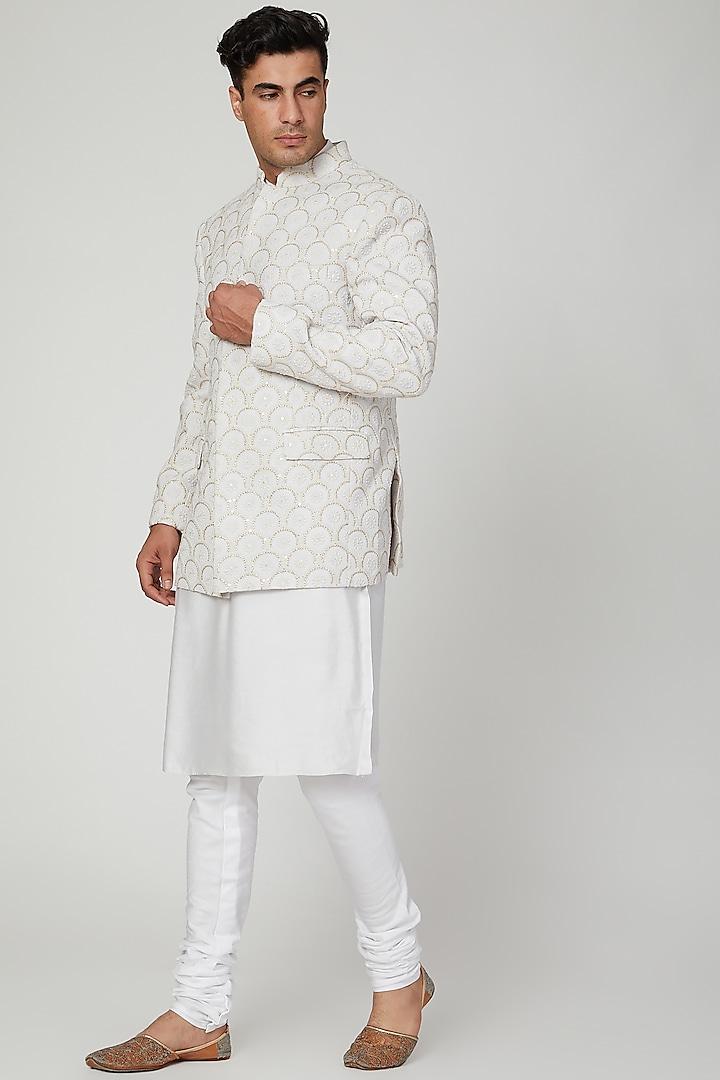 Grey Lucknowi Bandhgala Jacket by Ankit V Kapoor