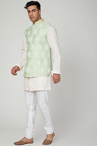 Mint Green Printed Nehru Jacket by Ankit V Kapoor