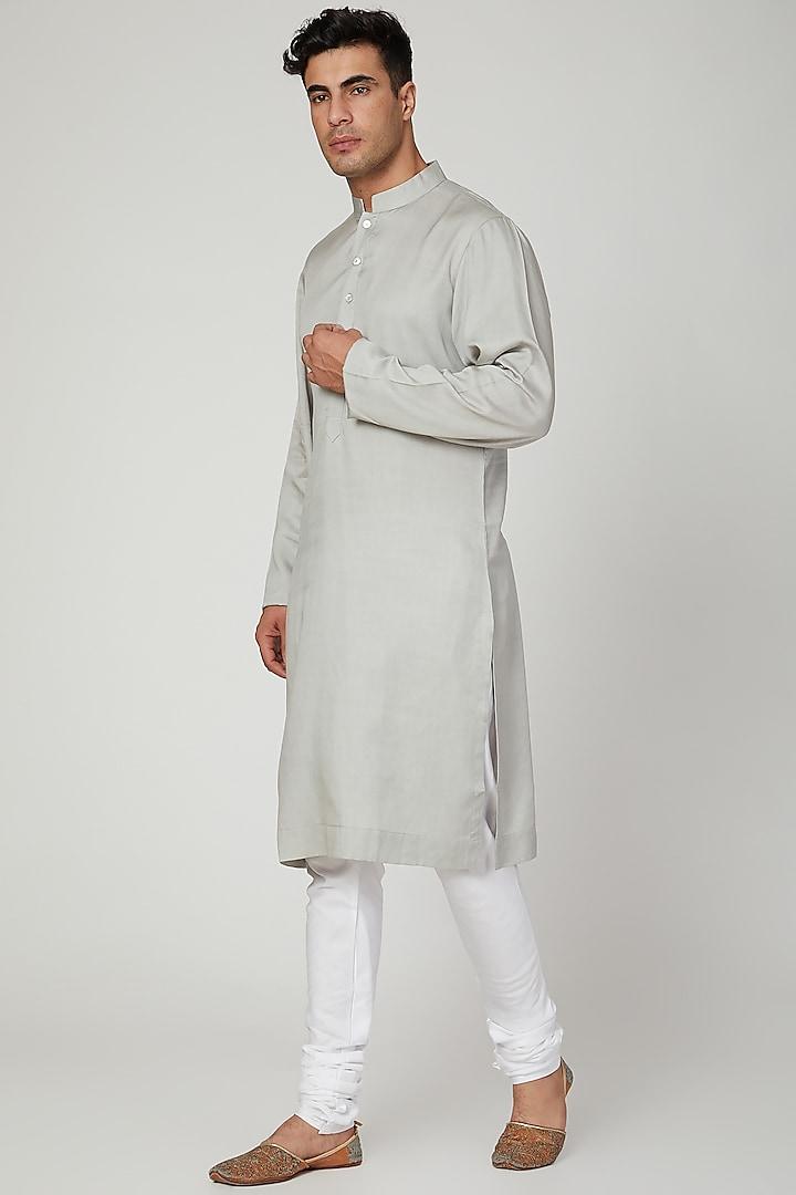 Steel Grey Cotton Kurta Set by Ankit V Kapoor