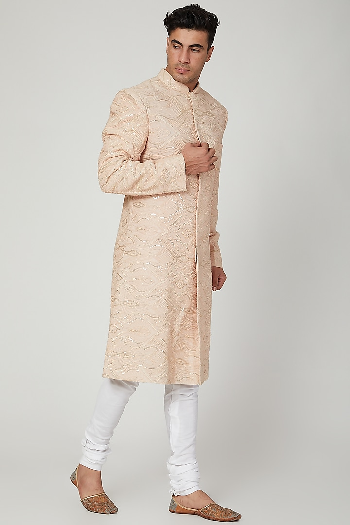 Copper Embroidered Lucknowi Sherwani by Ankit V Kapoor