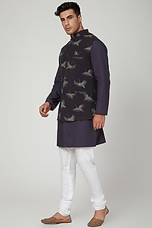Black Bird Printed Nehru Jacket by Ankit V Kapoor
