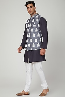 Stone Blue Printed Nehru Jacket by Ankit V Kapoor