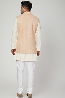 Copper Embroidered Lucknowi Nehru Jacket by Ankit V Kapoor