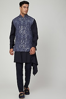 Cobalt Blue Embroidered Nehru Jacket by Ankit V Kapoor