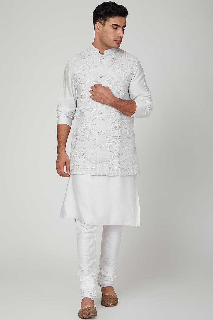 Grey Lucknowi Nehru Jacket by Ankit V Kapoor