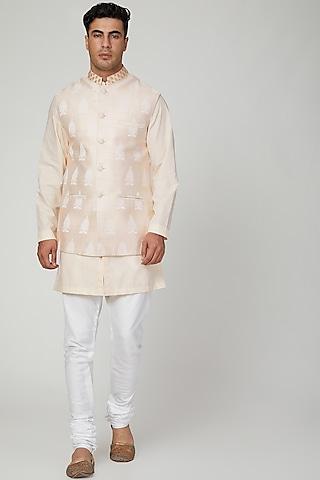 Peach Screen Printed Nehru Jacket by Ankit V Kapoor