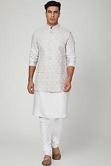 Grey Embroidered Nehru Jacket by Ankit V Kapoor