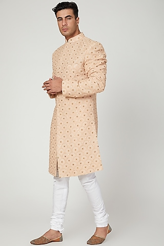 Copper Sequins Embroidered Sherwani by Ankit V Kapoor