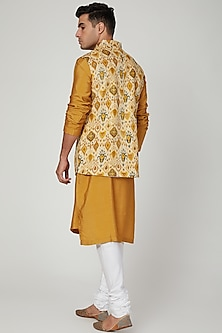 Mustard Cotton Rayon Nehru Jacket by Ankit V Kapoor