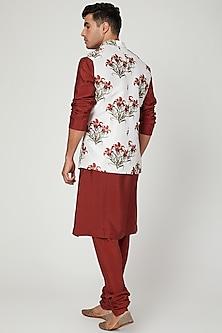 White Floral Printed Nehru Jacket by Ankit V Kapoor