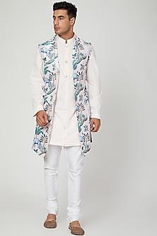 Blush Pink Printed Nehru Jacket With Kurta Set by Ankit V Kapoor