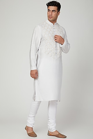 Grey Embroidered Kurta With Pants by Ankit V Kapoor