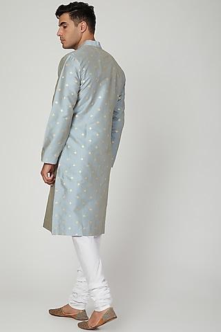 Sky Blue Printed Kurta With Pants by Ankit V Kapoor