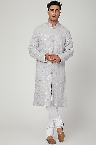 Grey Chikankari Embroidered Kurta With Pants by Ankit V Kapoor