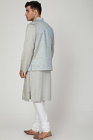 Sky Blue Printed Nehru Jacket by Ankit V Kapoor
