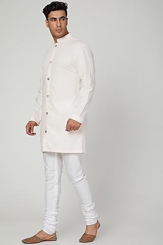 Peach Short Kurta With Pants by Ankit V Kapoor