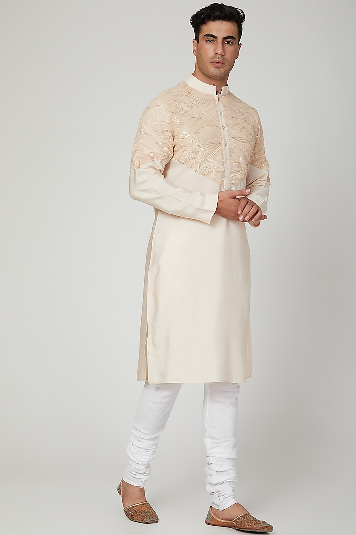 Copper Embroidered Kurta With Pants by Ankit V Kapoor