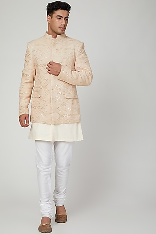 Copper Embroidered Bandhgala Jacket by Ankit V Kapoor