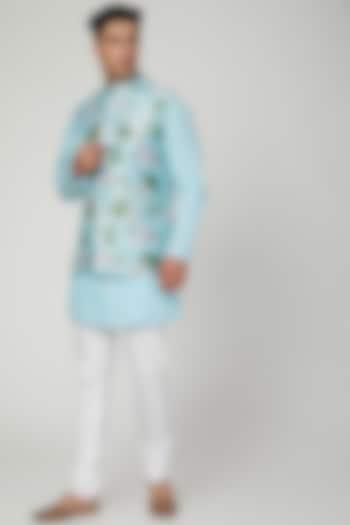 Sky Blue Printed Jacket Set by Ankit V Kapoor