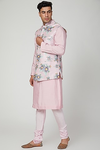 Blush Pink Printed Jacket Set by Ankit V Kapoor