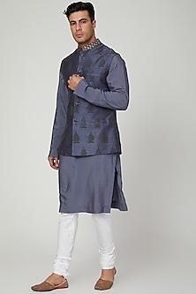 Cobalt Blue Printed Jacket Set by Ankit V Kapoor