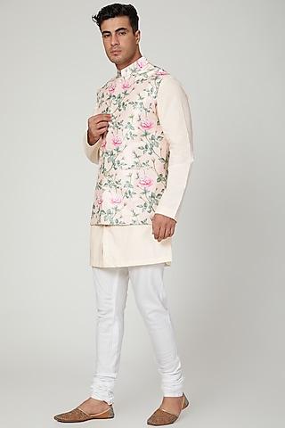 Blush Pink Floral Printed Nehru Jacket by Ankit V Kapoor