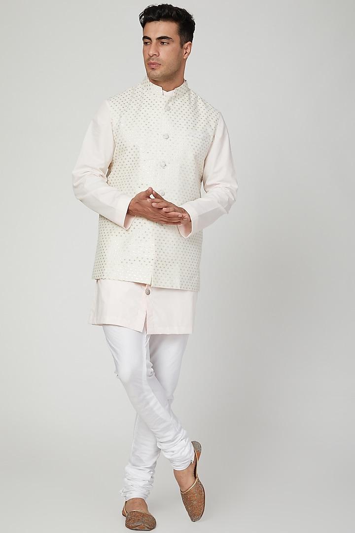 White Polka Dots Printed Bundi Jacket by Ankit V Kapoor
