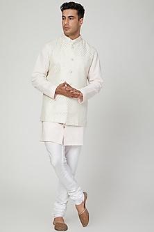 White Polka Dots Printed Kurta by Ankit V Kapoor