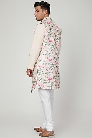 Blush Pink Floral Printed Jacket Set by Ankit V Kapoor