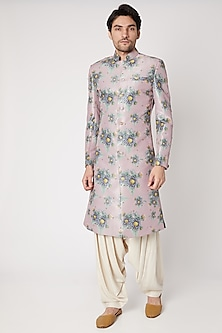 Vintage Pink Embroidered & Printed Sherwani Set by Ankit V Kapoor