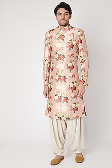 Dusty Rose Pink Printed & Embroidered Sherwani Set by Ankit V Kapoor