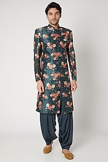 Navy Blue Embroidered & Printed Sherwani Set by Ankit V Kapoor