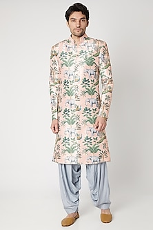 Blush Pink Printed & Embroidered Sherwani Set by Ankit V Kapoor