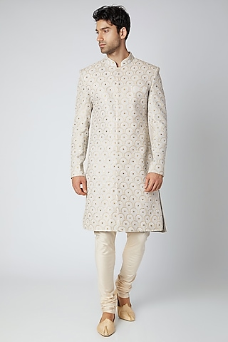 Ice Grey Printed & Embroidered Lucknowi Sherwani by Ankit V Kapoor