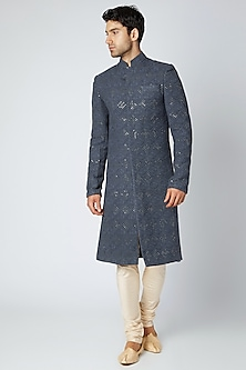 Slate Blue Printed & Embroidered Lucknowi Sherwani by Ankit V Kapoor