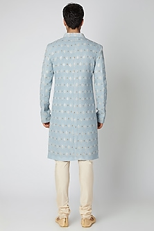Powder Blue Printed & Embroidered Lucknowi Sherwani by Ankit V Kapoor