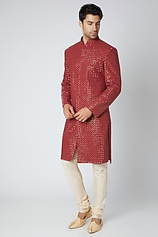 Maroon Printed & Embroidered Lucknowi Sherwani by Ankit V Kapoor