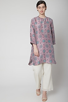 Red Hand Block Printed Tunic by Avni Bhuva