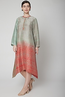 Grey Hand Block Printed Long Kurta by Avni Bhuva
