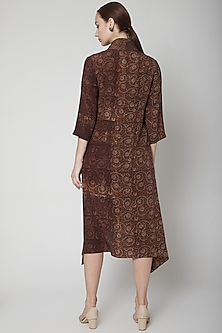 Brown Block Printed Long Kurta by Avni Bhuva