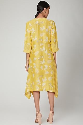 Yellow Hand Block Printed Tunic by Avni Bhuva