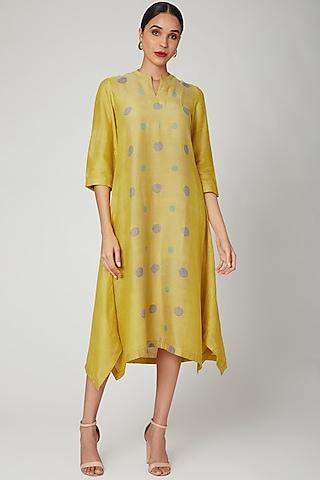 Yellow Block Printed Tunic by Avni Bhuva