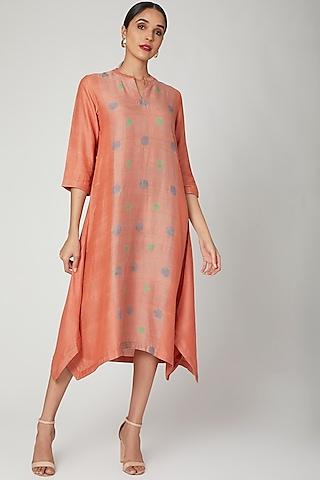 Peach Hand Block Printed Tunic by Avni Bhuva