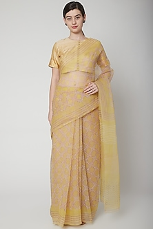 Yellow Hand Block Printed Saree by Avni Bhuva