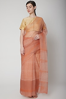 Orange Hand Block Printed Saree by Avni Bhuva