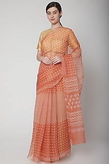 Orange Hand Block Printed Saree Set by Avni Bhuva