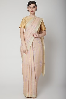 Blush Pink Printed Linen Saree Set by Avni Bhuva
